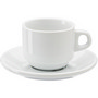 Stackable porcelain cup and saucer (100ml).