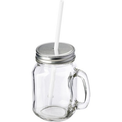 Picture of Glass mason drinking jar with handle