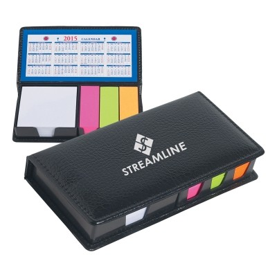 Picture of Leather Look Case Of Sticky Notes With C