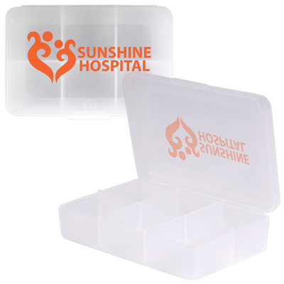 Picture of Clear Rectangular 6 Compartment Pill Box
