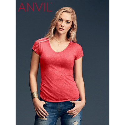 Picture of Anvil Women's Tri-Blend V-Neck Tee Colou