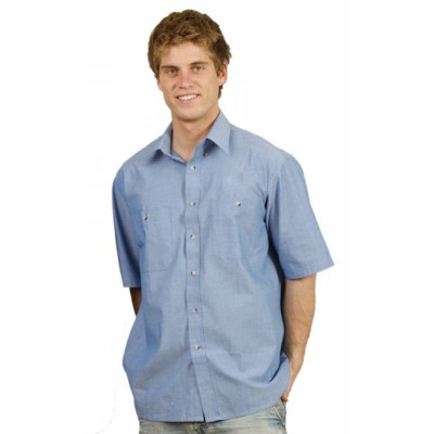 Picture of Mens Wrinkle Free Short Sleeve Chambray