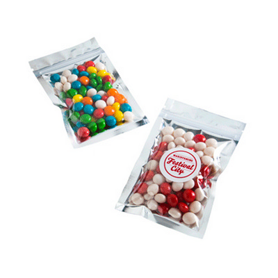 Picture of Silver Zip Lock Bag with Chewy Fruits 50GSilver Zip Lock Bag filled with Jelly Be