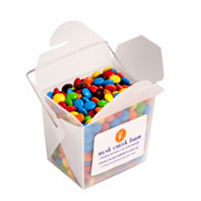 Picture of Frosted PP Noodle Box Filled with M&Ms 1