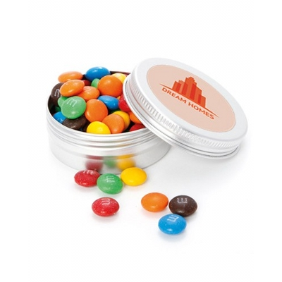 Picture of Large Round Twist Tin with M&M's