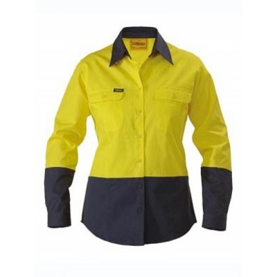 Picture of Womens Two Tone Hi Vis Drill Shirt - Lon