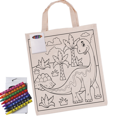Picture of Colouring in Short Handle Calico Tote Bagwith Crayons