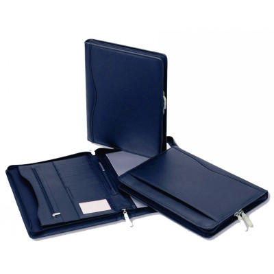Picture of Superior Dark Blue Leather Zip CompendiumCompendiums, A4 Zippered Compendiums