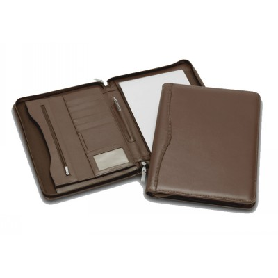 Picture of Superior Brown Leather Zip Compendium