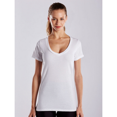 Picture of WOMEN'S SHORT SLEEVE JERSEY V-NECK - Whi