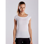 WOMEN'S OPEN NECK RAW EDGE CAP SLEEVE TE