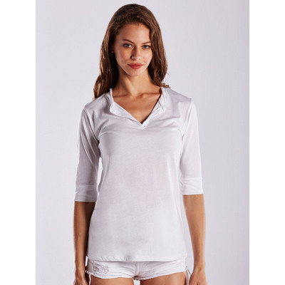 Picture of WOMEN'S ELBOW SLEEVE FOOTIE TEE - White