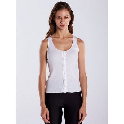 Picture of WOMEN'S 2X1 BUTTON DOWN TANK - White