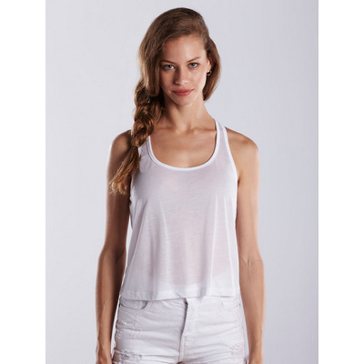 Picture of WOMEN'S SHEER CROPPED RACER TANK - White