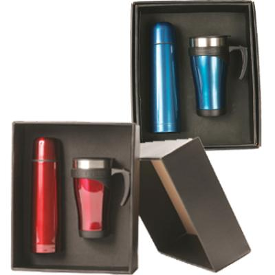 Picture of Travel Mug & Flask Set - Red or Blue