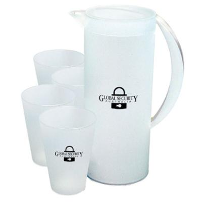 Picture of Frosted Jug and 4 Cups - Blue or White