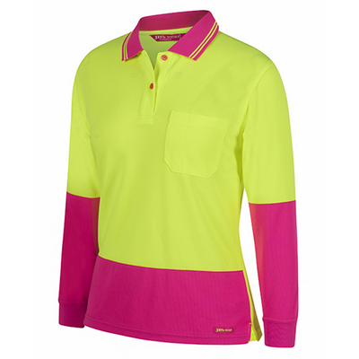 Picture of JBs Ladies Hi Vis L/S Comfort Polo
