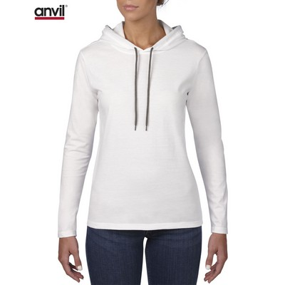 Picture of Anvil Women's Lightweight Long Sleeve Hooded Tee White