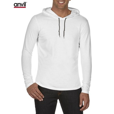 Picture of Anvil Adult Lightweight Long Sleeve Hooded Tee White