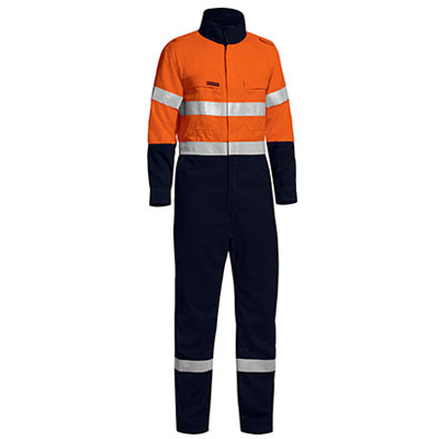Picture of Tencate Tecasafe Plus Taped Two Tone Hi Vis Lightweight Fr Non Vented Engineered Coverall With Zip Closure