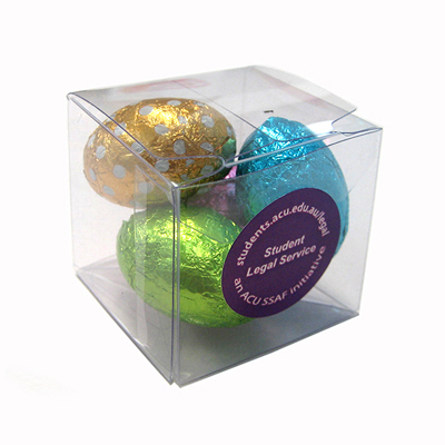 Picture of Cube Filled With Mini Easter Eggs X4 Eggs 30G