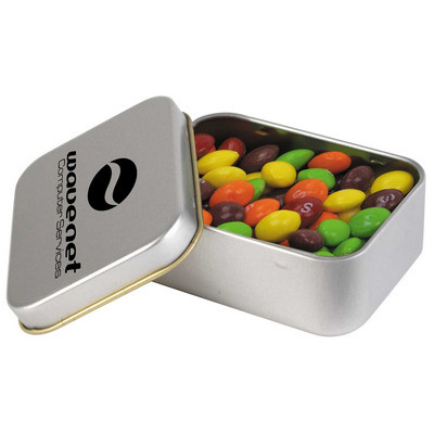 Picture of Assorted Fruit Skittles in Silver Rectangular Tin