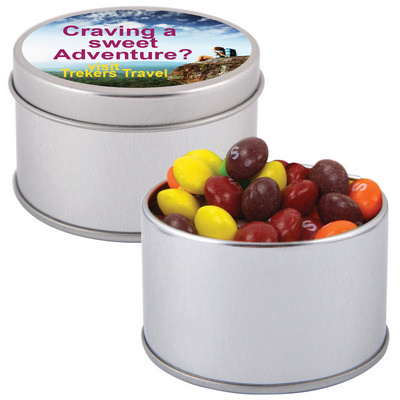 Picture of Assorted Fruit Skittles in Silver Round Tin