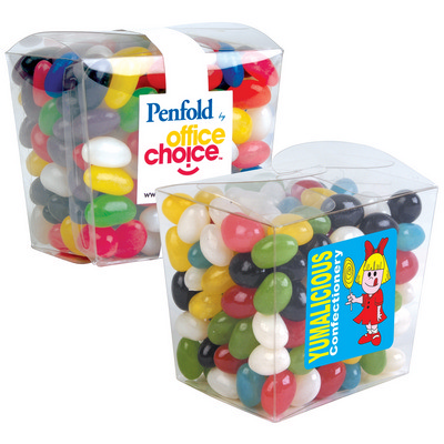 Picture of Assorted Colour Mini Jelly Beans in Clear Mini Noodle Box