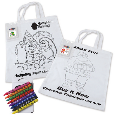 Picture of Colouring in Short Handle Cotton Tote Bag with Crayons