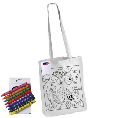 Picture of Colouring in Long Handle Cotton Tote Bag with Crayons