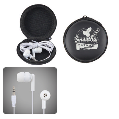 Picture of Earbud / Headphone Set in Round EVA Zippered Case