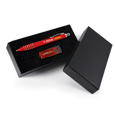 Picture of Style Gift Set - Titan Pen and Swivel Flash Drive
