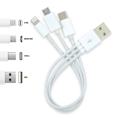 Picture of 3 in 1 Combo USB Cable - Micro, 8 Pin, Type C