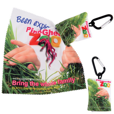 Picture of Custom Superior Hi Microfibre Lens Cloth in Pouch with Carabiner