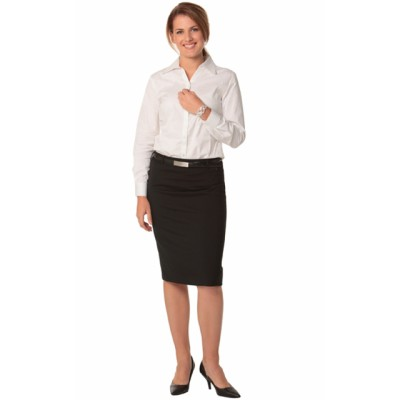 Picture of Ladies Wool Stretch Mid Length Lined Pencil Skirt