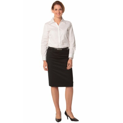 Picture of Ladies Poly/Viscose Stretch Mid Length Lined Pencil Skirt