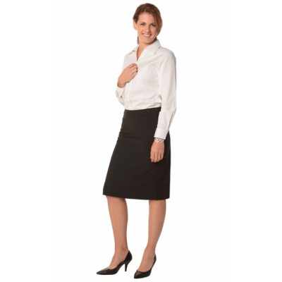 Picture of Ladies Poly/Viscose Stretch Stripe Mid Length Lined Pencil Skirt