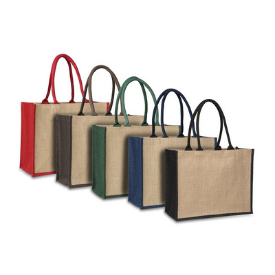 Picture of Laminated Jute Supermarket Bag with Coloured Handles and Gussets