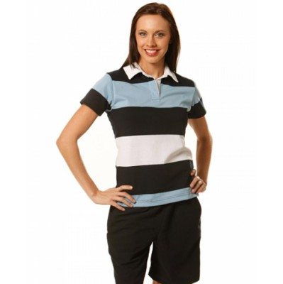 Picture of Ladies Short Sleeve 3 Tone Rugby Top