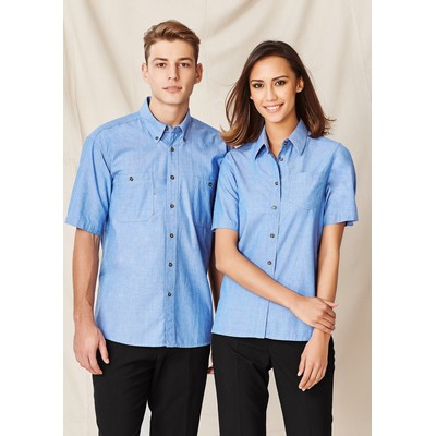 Picture of Ladies Wrinkle Free Chambray Short Sleeve Shirt