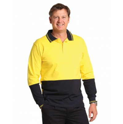 Picture of Hi-Vis Cotton Two Tone Long Sleeve Safety Polo