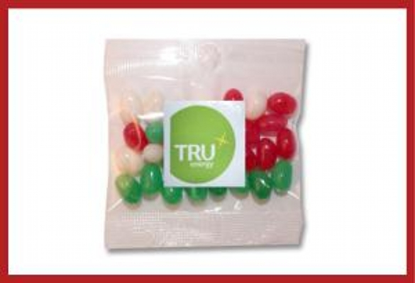 Picture of Christmas mini jellybeans 30g cello bag with label