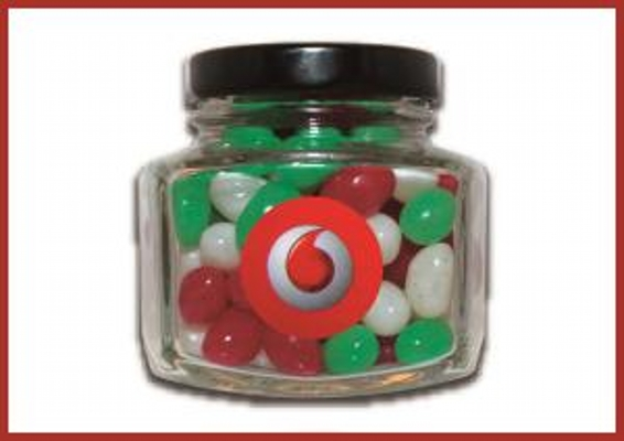 Picture of Christmas mini jellybeans in hexagonal jar with label