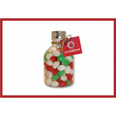 Picture of Christmas Mini Jelly beans in a No Neck Bottle with swing tag