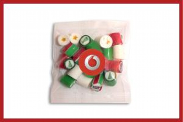 Picture of Christmas Rock Candy 30g cello bag with label