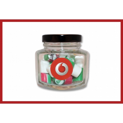Picture of Christmas rock candy in jar with label