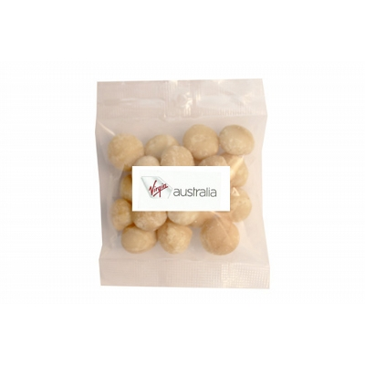 Picture of 50g Dry roasted unsalted Macadamias with label