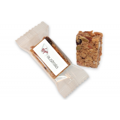 Picture of Individually wrapped Toasted Muesli bite sized treat 23g with label