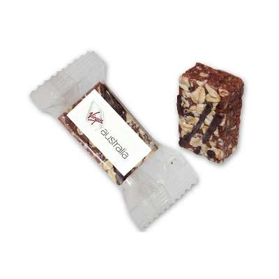 Picture of Individually wrapped Chocolate & Oat bite sized treat 28g with label