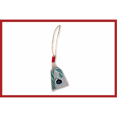 Picture of Christmas mini candy cane with swing tag and label